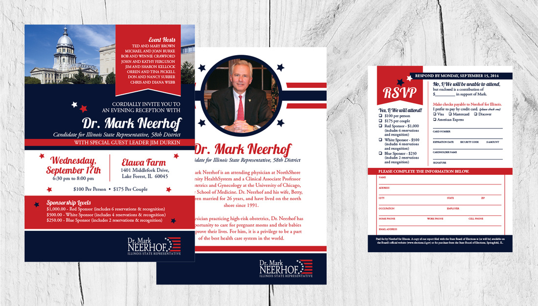 Dr.Mark Neerhof political Fundraiser invite & RSVP - DiCianni Design